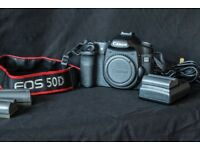 Canon EOS 50D camera, 3 batteries & charger