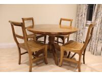 Round Hardwood Dining Table + 4 Chairs + 4 Cushions