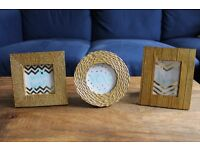 A cute set of three gold picture frames--square, circle and rectangle. NEWLY REDUCED PRICE.