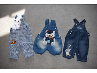 baby boys bundle of clothes, 3 dungarees, 3-6 months