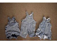 0-3 months boys clothes bundle (3 dungerees)
