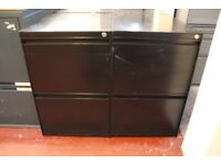 Black steel office filing cabinet with 2 drawers ONLY £15 PER EACH