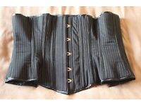 For Sale - Black and White Pinstripe Under Bust Corset Size 24
