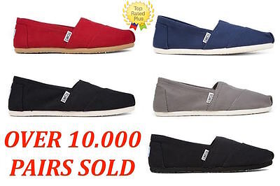 AUTHENTIC Toms CLASSIC CANVAS Slip-On Women's Shoes Red,Black,Ash Navy,Full - Classic Toms
