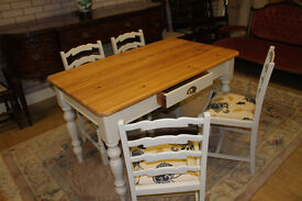 shabby chic pine table and four chairs
