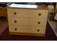 Beige and Cream coloured 3 drawer chest of drawers