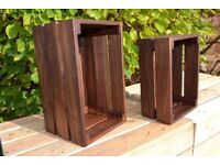 Dark wood rustic vegetable cake Crate Retail Shelf Box Storage Christmas gift
