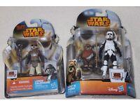"3x Star Wars Return Of The Jedi 3.75"" figures BIKER SCOUT / WICKET (EWOK) / LANDO (Hasbro) NEW"
