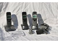 Panasonic DECT cordless digital phones with answerphone (triple pack)