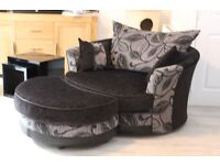 Swivel Chair (Cuddle/lovers Chair) and Footstool