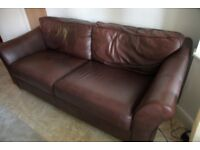 Two Leather, three-seater sofas. Purchased from M&S. In good condition.