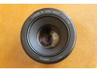 Canon EF 50mm F/1.8 full frame lens with lens hood