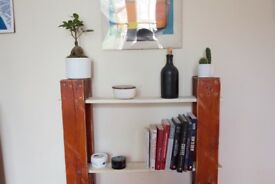 DIY Refurbished wood shelf / bookshelf - red & white