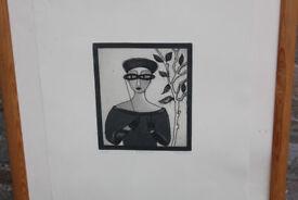 Large Framed Ltd Edition Art Print (20/50) Irish Artist Gay O'Neill Its Titled Lorgnette Picture