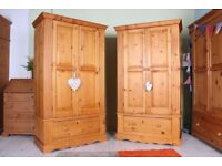 DELIVERY OPTIONS - 2 MATCHING PINE WARDROBES ALL TONGUE GROOVE DOVETAIL 1 DRAWER
