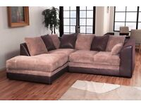 【Color Options Available】BYRON CORNER SOFA BEIGE / BROWN PORTO JUMBO CORD LEATHER FOAM SEATS - SALE