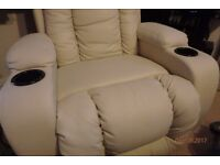 CREAM ELECTRIC RISE RECLINER WINGED LEATHER ARMCHAIR MASSAGE HEATED CHAIR