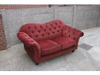 Chesterfield Style Red Fabric Two Seater Sofas