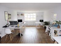 5 x Desk spaces in bright office in Haggerston/Dalston, Hackney NO VAT
