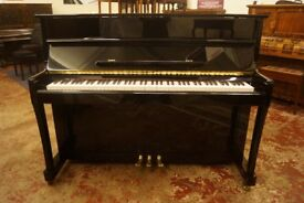 New upright piano in high polished ebony - FREE UK delivery and matching stool.