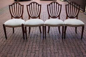 Classic Wooden Chairs with Cream Upholstery