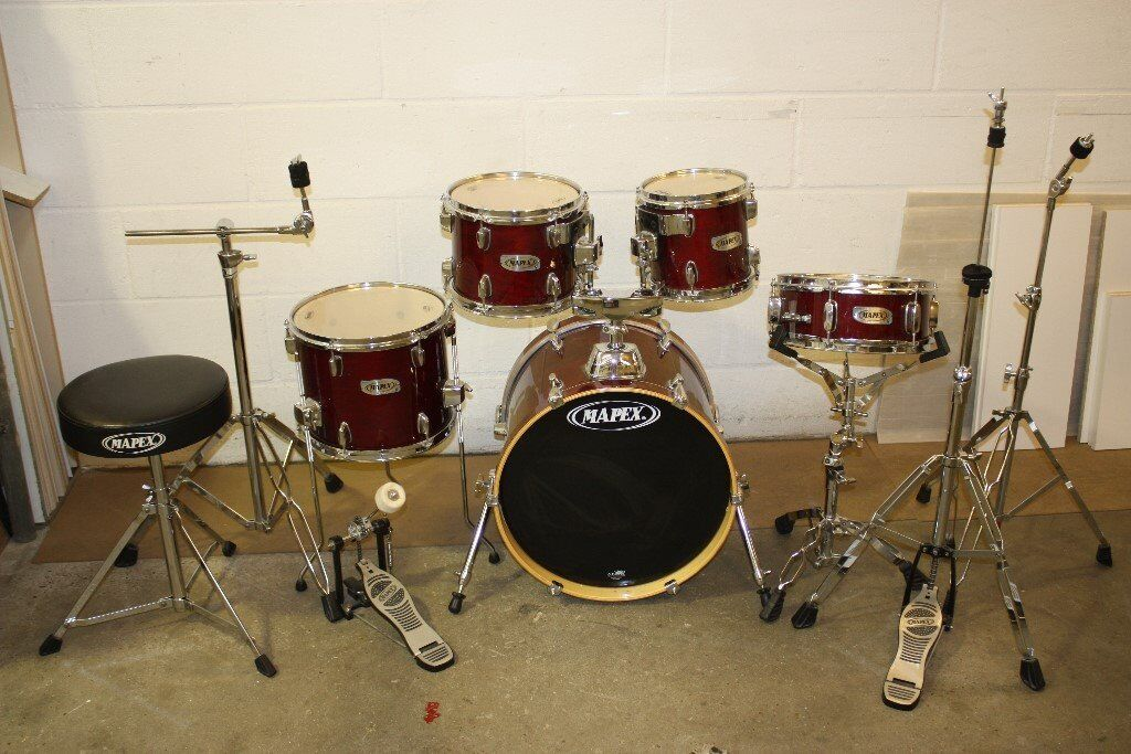 Mapex V Cherry Red Lacquered 5 Piece Full Drum Kit (18in Bass) with all Stands + Cymbal Set + Stool
