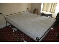 KING SIZE BED , ONE OFF HEAVY STEEL CONSTRUCTION, WITH MATTRESS