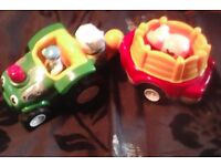Tractor and trailer with sheep and pig