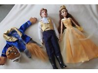 """2 x Disney Store 12"""" BEAUTY AND THE BEAST Dolls - BELLE and BEAST / PRINCE"""