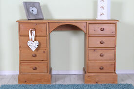 SOLID PINE DRESSING TABLE/DESK QUALITY MADE WITH 8 DRAWERS - CAN COURIER
