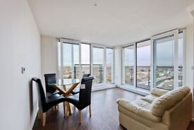 A stylish two bedroom apartment is situated on the thirteenth floor with scenic views of the marina