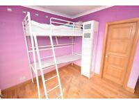 IKEA SVÄRTA White Metal Loft Bed (High Sleeper) with Desk & Shelf & Extra Tall Bedside Cabinet