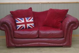 Stunning Oxblood Leather and Material Tetrad Chesterfield 2 Seater Sofa