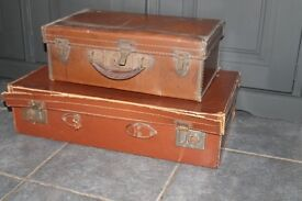 2 x Vintage/Antique Leather Suitcases,Display/Prop,Initials