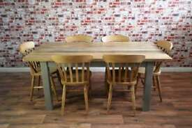 Solid Hardwood Chunky Slab Rustic Farmhouse Dining Table Set - 6 Seater