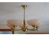 Brass & Glass lights - Ceiling hanging, 2 sets of 3 arms & 1 set of 5 arms - MUST VIEW