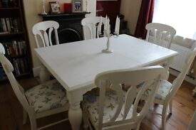 Shabby Chic Large Elegant Dining table with 6 chairs