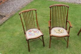 2 elegant period dining chairs with embroidered seats