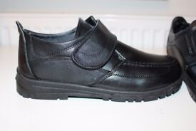 Size 5 black boys school smart shoes with velcro strap - unworn in mint condition