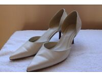 Ladies Elegant Cream Leather Shoes Size 4 by Next