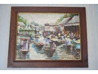 Vintage Impasto painting of Asian Market