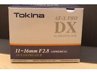Tokina 11-16mm F2.8. (canon fit) in mint condition. hardly used. Boxed included.