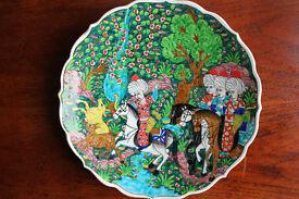 Stunning Handmade Hand Painted Plate Turkish Islamic Hunt Scene Kutahya Ottoman Vintage