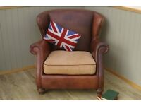 Stunning Brown Leather and Material Tetrad Chair.