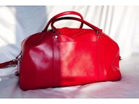 M&S red leather holdall