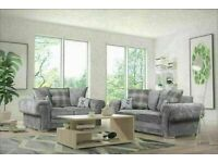 💥💯HUGE 50% OFF VERONA GREY FABRIC CORNER SOFA SUITE / 3+2 SEATER SETTEE AVAILABLE FOR DELIVERY