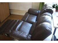 Reclining Dark Brown Leather Couch / Sofa