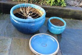 Large Painted Ceramic Patio Pots