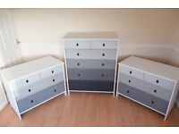 Shabby Chic Set of 3 Chest of Drawers