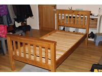 Solid wooden single bed and mattress